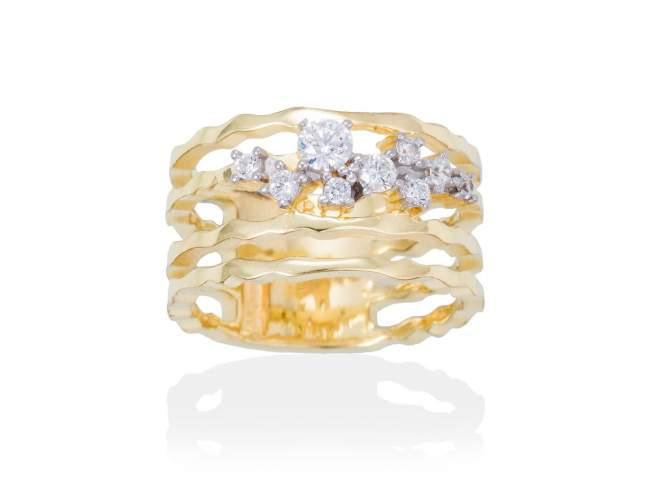 Ring LIA White in golden silver de Marina Garcia Joyas en plata
