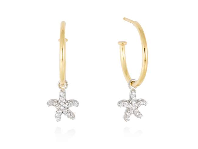 Earrings CABO White in golden silver de Marina Garcia Joyas en plata