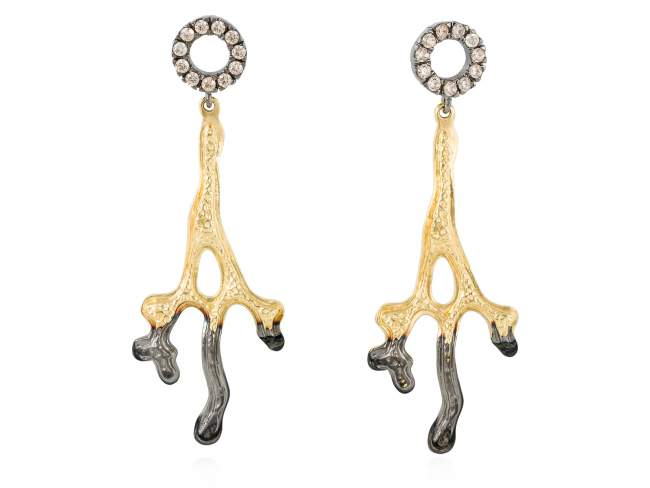 Earrings CORAL Cognac in golden silver de Marina Garcia Joyas en plata