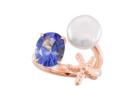 Ring EL CIELO Blue in rose silver