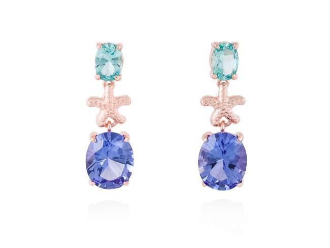 Earrings EL CIELO Blue in rose silver de Marina Garcia Joyas en plata