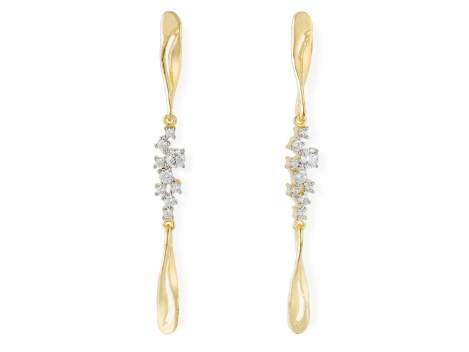 Earrings LIA White in golden silver
