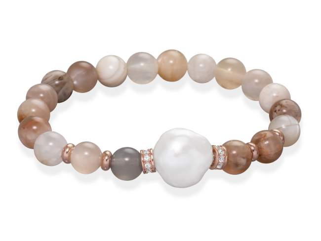 Bracelet LUNE in rose Silver de Marina Garcia Joyas en plata Bracelet in 18kt rose gold plated 925 sterling silver and white cubic zirconia with orange moonstone cabochon and freshwater cultured pearl. (wrist size: 18 cm.)