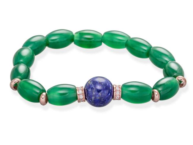 Bracelet FEZ in rose Silver de Marina Garcia Joyas en plata Bracelet in 18kt rose gold plated 925 sterling silver and white cubic zirconia with green agate and lapislazuli.  (wrist size: 18 cm.)