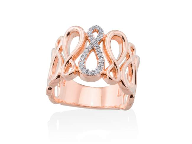 Ring EIGHT White in rose silver de Marina Garcia Joyas en plata <p>Ring in 18kt rose gold plated 925 sterling silver and white cubic zirconia.</p>