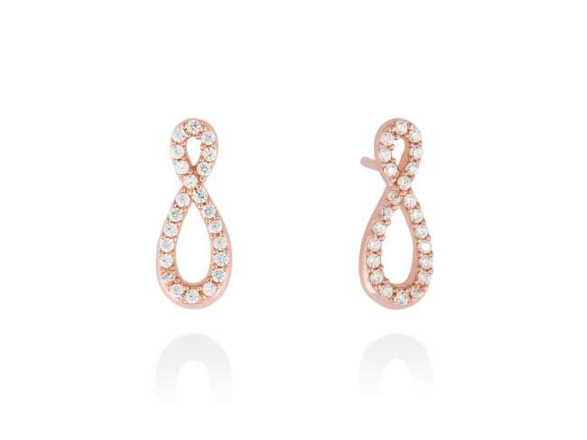 Earrings EIGHT White in rose silver de Marina Garcia Joyas en plata <p>Earrings in 18kt rose gold plated 925 sterling silver with white cubic zirconia. (size: 1,7cm.)</p>
