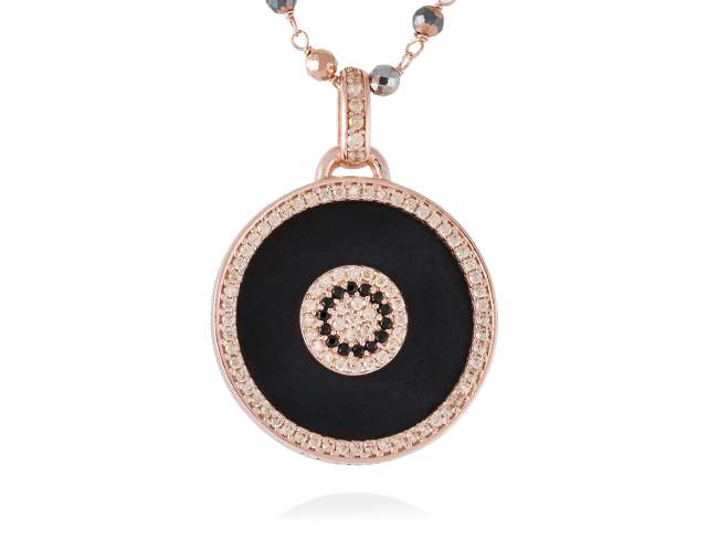 Pendant FULL MOON in rose silver de Marina Garcia Joyas en plata<p>Pendant in 18kt rose gold plated 925 sterling silver, synthetic black spinel, cognac cubic zirconia and black onyx. (size: 4 cm.) (Chain is not included)</p>