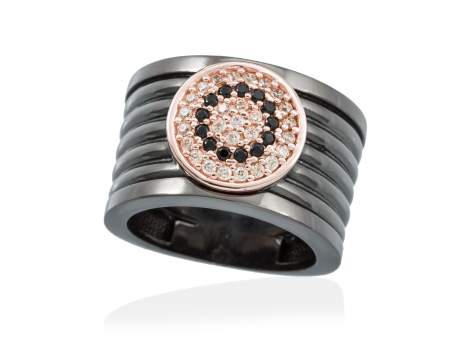 Ring FULL MOON in black silver