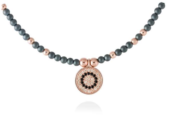Necklace FULL MOON in rose silver de Marina Garcia Joyas en plata<p>Necklace in 18kt rose gold plated 925 sterling silver, cognac cubic zirconia, synthetic black spinel and hematite. (length: 42+3 cm.)</p>