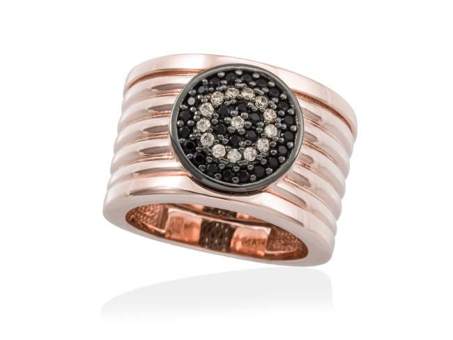 Ring FULL MOON in rose silver de Marina Garcia Joyas en plata<p>Ring in 18kt rose gold and ruthenium plated 925 sterling silver, cognac cubic zirconia and synthetic black spinel.</p>