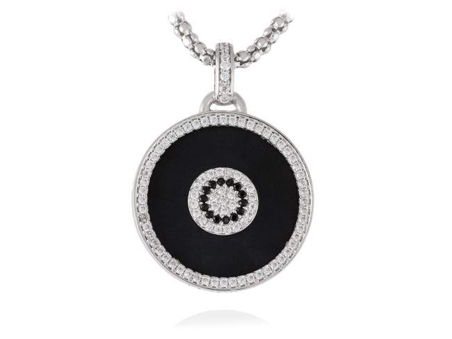 Pendant FULL MOON in silver de Marina Garcia Joyas en plata<p>Pendant in rhodium plated 925 sterling silver, white cubic zirconia and black onyx. (size: 4 cm.) (Chain is not included)</p>