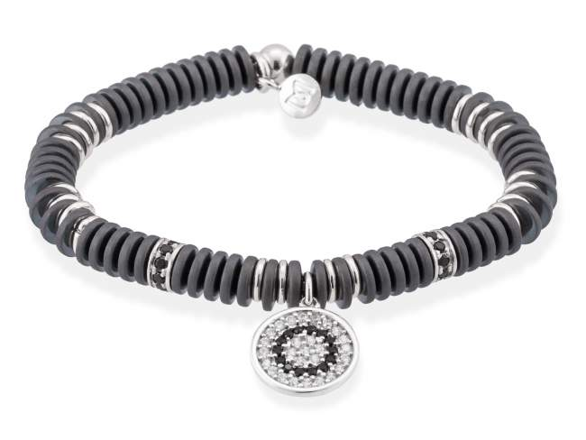 Bracelet FULL MOON in silver de Marina Garcia Joyas en plata<p>Bracelet in rhodium plated 925 sterling silver, white cubic zirconia, synthetic black spinel and hematite. (wrist size: 16,5 cm.)</p>