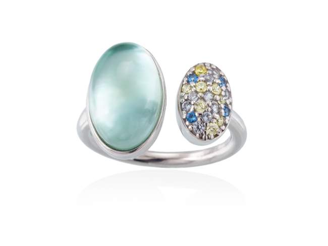 Ring HIDRA Green in silver de Marina Garcia Joyas en plata Ring in rhodium plated 925 sterling silver, multicolor cubic zirconia, mother of pearl, green agate and quartz doublet.