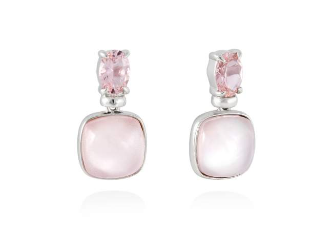 Earrings LAKE Pink in silver de Marina Garcia Joyas en plata Earrings in rhodium plated 925 sterling silver, synthetic stone in pink color and pink mother of pearl and milky quartz doublet. (size: 2 cm.)