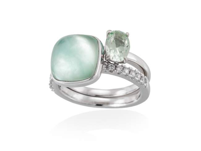 Ring LAKE Green in silver de Marina Garcia Joyas en plata Ring in rhodium plated 925 sterling silver, white cubic zirconia, synthetic stone in light green color and mother of pearl, green agate and quartz doublet.