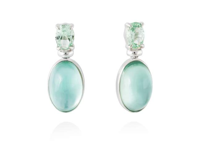 Earrings LAKE Green in silver de Marina Garcia Joyas en plata Earrings in rhodium plated 925 sterling silver, synthetic stone in light green color and mother of pearl, green agate and quartz doublet. (size: 2,5 cm.)