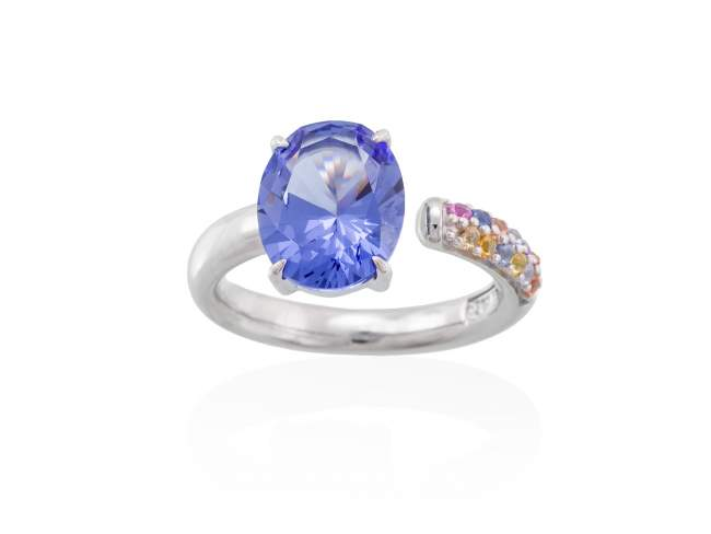 Ring LIDO Blue in silver de Marina Garcia Joyas en plata Ring in rhodium plated 925 sterling silver, multicolor cubic zirconia and synthetic stone in blue color.