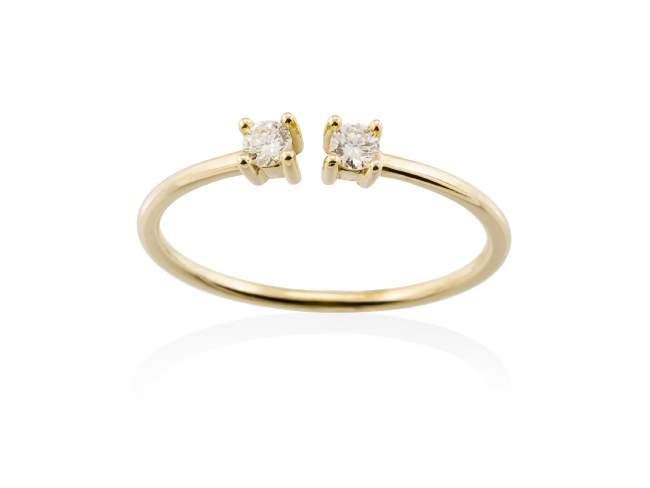 Ring in 18kt. Gold and diamonds de Marina Garcia Joyas en plata Ring in 18kt yellow gold and 2 diamonds carat total weight 0.12  (Color: Wesselton (H) Clarity: SI).