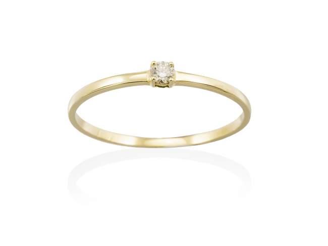 Anillo  en Oro 18Kt. y diamantes de Marina Garcia Joyas en plata Anillo de Oro amarillo de ley (750/1000) con 1 diamante de peso total 0,05 qt. (Color: Top Wesselton (G) Pureza: SI).