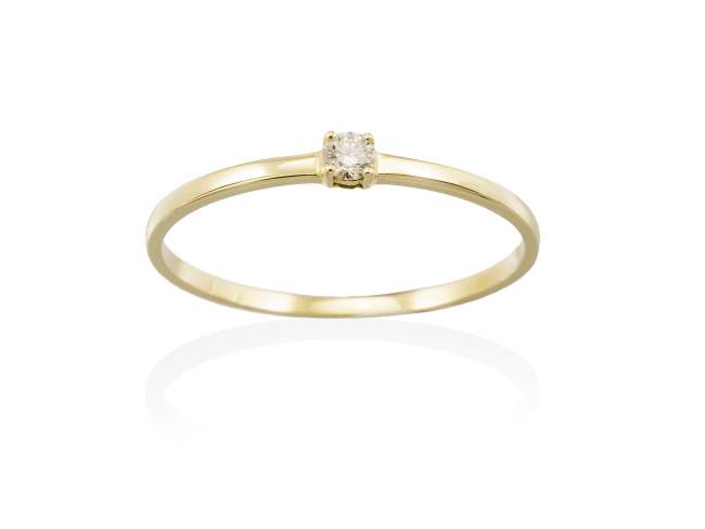 Ring in 18kt. Gold and diamonds de Marina Garcia Joyas en plata Ring in 18kt yellow gold with 1 diamond carat total weight 0.05  (Color: Top Wesselton (G) Clarity: SI).