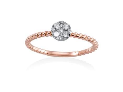 Anillo  en Oro 18Kt. y diamantes