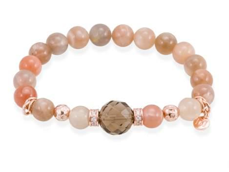 Bracelet CHAKRA Brown in rose silver