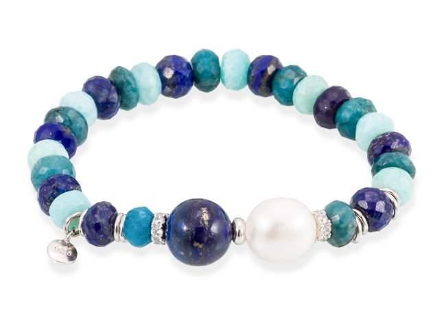 Bracelet CHAKRA Blue in silver de Marina Garcia Joyas en plata Bracelet in rhodium plated 925 sterling silver, white cubic zirconia, lapislazuli and freshwater cultured pearl. (wrist size: 18 cm.)