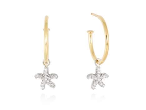 Earrings CABO White in golden silver