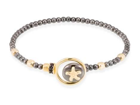 Bracelet CORAL Black in golden silver