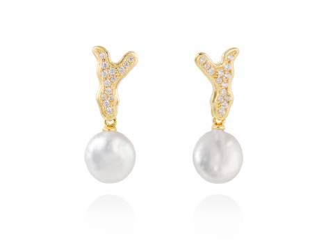 Earrings COIN White in golden silver