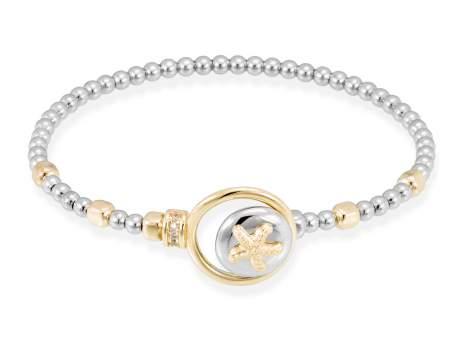 Bracelet CORAL White in golden silver