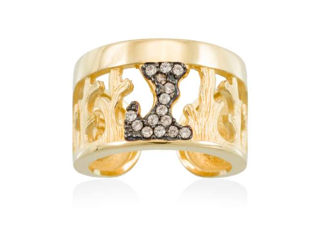 Ring CORAL Cognac in golden silver de Marina Garcia Joyas en plata Ring in 18kt yellow gold plated 925 sterling silver with cognac cubic zirconia.