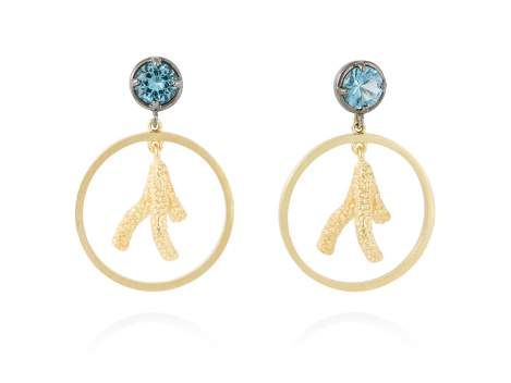 Earrings CORAL Blue in golden silver