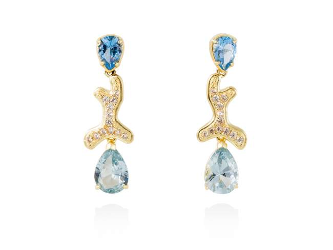 Earrings BLUE Blue in golden silver de Marina Garcia Joyas en plata Earrings in 18kt yellow gold plated 925 sterling silver, cognac cubic zirconia and synthetic stone in blue color. (size: 3,2 cm.)