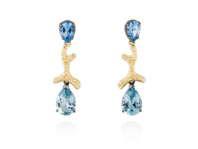 Earrings BLUE Blue in golden silver de Marina Garcia Joyas en plata Earrings in 18kt yellow gold and ruthenium plated 925 sterling silver and synthetic stone in blue color. (size: 3,2 cm.)