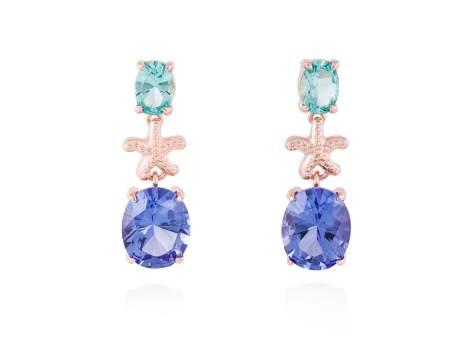 Earrings EL CIELO Blue in rose silver