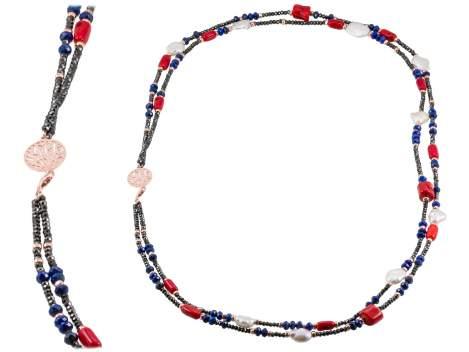 Double CORAL Multicolor in rose silver
