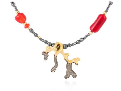 Necklace CORAL Coral in golden silver