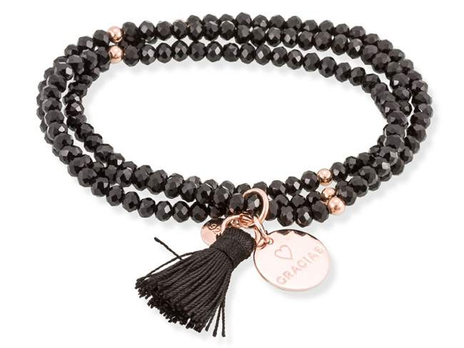 Bracelet ZEN Black in rose Silver de Marina Garcia Joyas en plata Bracelet in 18kt rose gold plated 925 sterling silver and faceted black Strass glass. (length: 51 cm.)