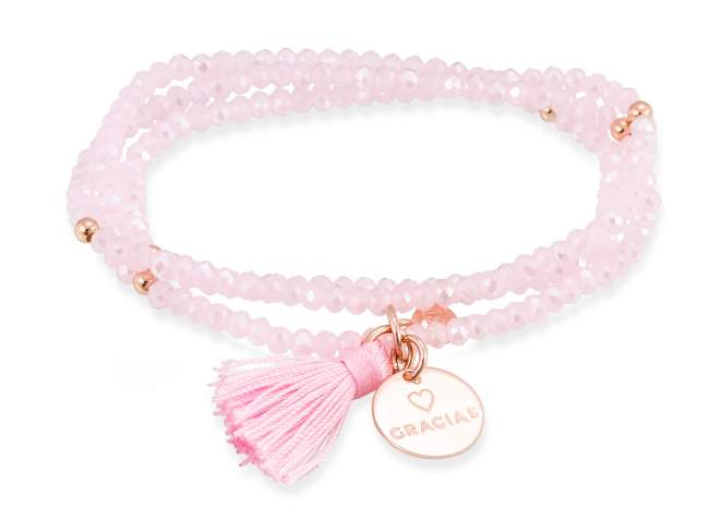 Bracelet ZEN Pink in rose silver de Marina Garcia Joyas en plata Bracelet in 18kt rose gold plated 925 sterling silver with faceted pink Strass glass. (length: 51 cm.)