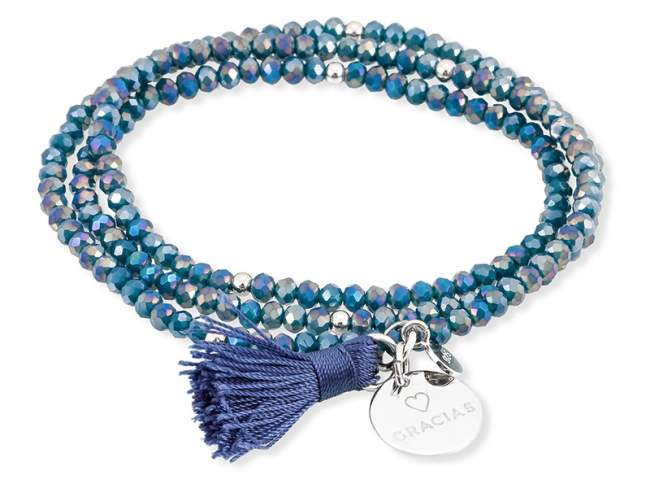 Bracelet ZEN Blue in silver de Marina Garcia Joyas en plata Bracelet in rhodium plated 925 sterling silver with faceted