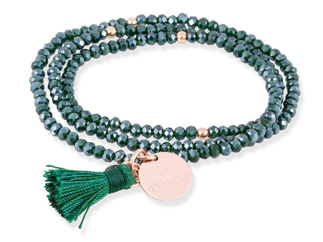 Bracelet ZEN Green in rose Silver de Marina Garcia Joyas en plata Bracelet in 18kt rose gold plated 925 sterling silver and faceted dark green Strass glass. (length: 51 cm.)
