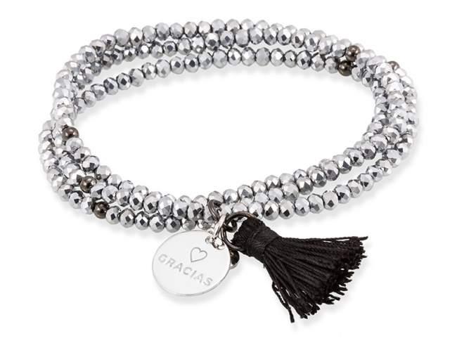 Bracelet ZEN Silver in silver de Marina Garcia Joyas en plata Bracelet in rhodium plated 925 sterling silver with faceted
