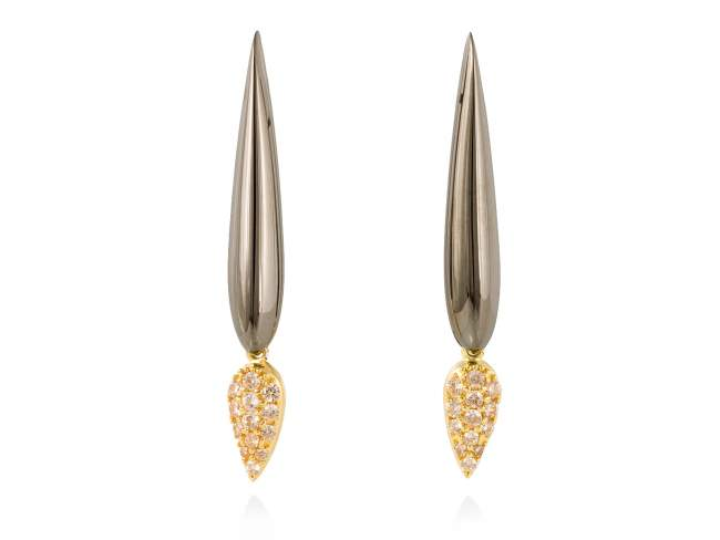 Earrings TRUCO Cognac in black silver de Marina Garcia Joyas en plata Earrings in 18kt yellow gold and ruthenium plated 925 sterling silver and cognac cubic zirconia. (size: 5 cm.)