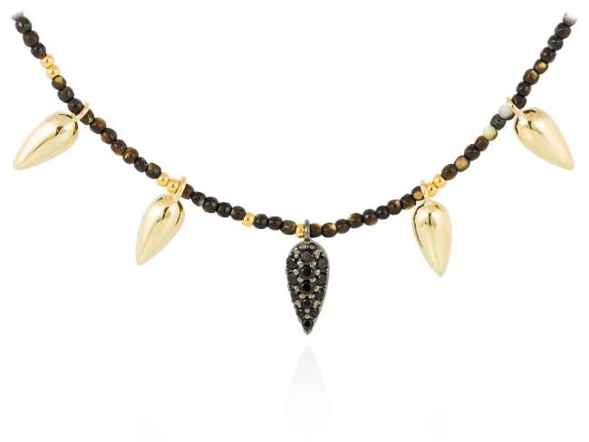 Necklace TRUCO Black  in golden silver de Marina Garcia Joyas en plata Necklace in 18kt yellow gold and ruthenium plated 925 sterling silver, cognac cubic zirconia and hematite.   (length: 40+3 cm.)