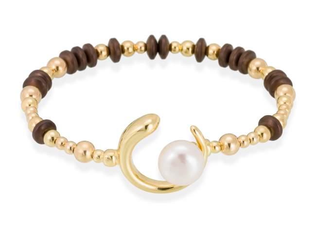 Bracelet SIAM pearl in golden silver de Marina Garcia Joyas en plata Bracelet in 18kt yellow gold plated 925 sterling silver, brown coated hematite and freshwater cultured pearl. (wrist size: 17 cm.)