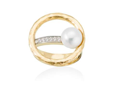 Ring NIKO pearl in golden silver